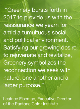 GREENERY 2017 PANTONE COLOR OF THE YEAR