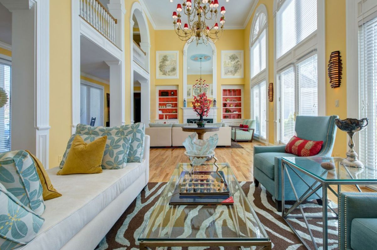 Red Yellow Blue High Ceilings Living Room